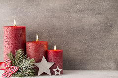 Christmas candles and lights. Christmas background. Stock Images