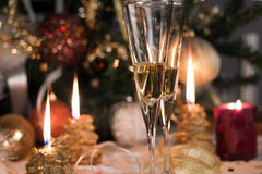 Christmas candles lit Royalty Free Stock Photography