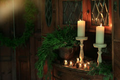 Christmas candles in needles Royalty Free Stock Photos