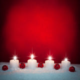 Christmas Candles and Ornaments Stock Images