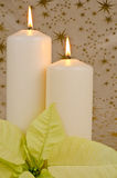 Christmas Candles and Poinsettia Stock Photo