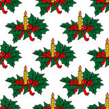 Christmas candles seamless pattern Royalty Free Stock Images