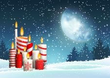 Christmas candles in snowy landscape under big moon. With night forest in background, vector illustration, eps 10 with transparency vector illustration