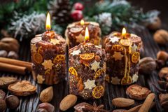 Christmas candles with spices and  nuts Royalty Free Stock Image