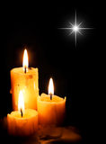 Christmas Candles with star light Royalty Free Stock Image