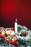 Christmas candles and tinsel Royalty Free Stock Images