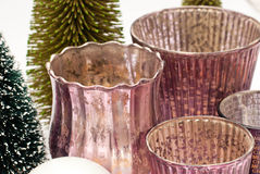 Christmas. Candles and  trees Royalty Free Stock Photography