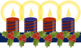Christmas candles vector. Border with holly wreath and candles isolated on white.Vector Royalty Free Stock Photography