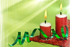 Christmas Candles with vertical stripes Royalty Free Stock Images