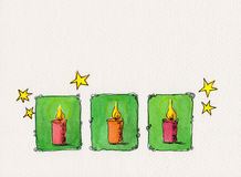 Christmas candles watercolor painting Stock Photo