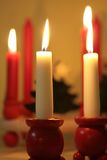 Christmas Candles in wooden holders Royalty Free Stock Images