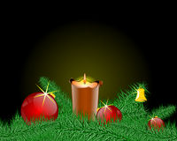 Christmas candlestick. And christmas ball Royalty Free Stock Photos