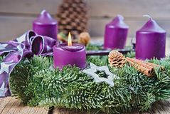 Christmas candlestick with burning candle Stock Photography