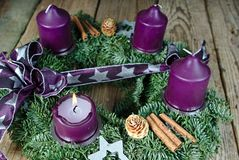 Christmas candlestick with burning candle Stock Photo