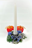 Christmas candlestick isolated on a white backgrou. Nd Stock Photo