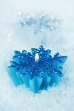 Christmas candlestick snoflakes Stock Photos