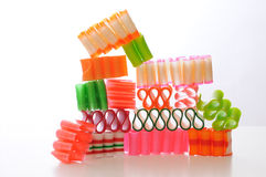 Christmas Candy. Colorful ribbon candy for Christmas set against a white background Stock Images