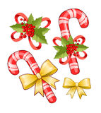 Christmas candy cane. And bow. Isolated objects Royalty Free Stock Image