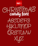 Christmas Candy cane alphabet. Vector illustration Royalty Free Stock Images