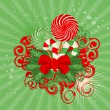 Christmas candy cane decorated Royalty Free Stock Photo