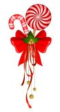 Christmas candy cane decorated bow Royalty Free Stock Photo