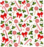 Christmas candy cane decorated bow Stock Photography