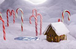 Christmas Candy Cane Forest Cottage Pond Stock Image