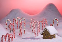 Christmas Candy Cane Forest Pink Sunset Pond Royalty Free Stock Image
