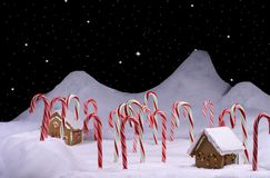 Christmas Candy Cane Forest With Starry Sky Stock Photo