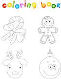 Christmas candy cane, gingerbread man, deer and bauble. Coloring book for kids vector illustration