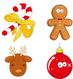 Christmas candy cane, gingerbread man, deer and bauble. Christmas candy cane, gingerbread man, reindeer and bauble Royalty Free Stock Photos