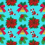 Christmas candy cane, holly and poinsettia, bell with ribbon on blue background. Christmas candy cane, holly and poinsettia, bell with ribbon, hand drawn doodle Royalty Free Stock Photos