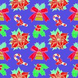 Christmas candy cane, holly and poinsettia, bell with ribbon on blue background with white outline. Christmas candy cane,  holly and poinsettia, bell with ribbon Stock Image