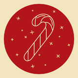 Christmas candy cane icon in thin line style Royalty Free Stock Photo