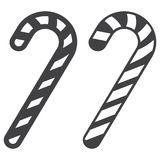 Christmas candy cane line and glyph icon Royalty Free Stock Images