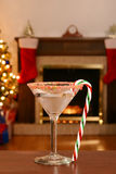 Christmas candy cane martini Royalty Free Stock Images