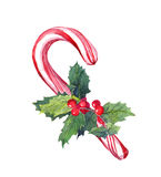 Christmas candy cane with mistletoe. Watercolor Royalty Free Stock Image