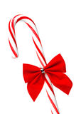 Christmas Candy Cane with Red Bow Royalty Free Stock Photography