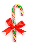 Christmas Candy Cane with Red Bow Stock Photography
