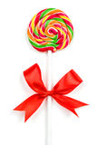 Christmas Candy Cane with Red Bow Royalty Free Stock Image