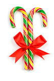 Christmas Candy Cane with Red Bow Stock Image