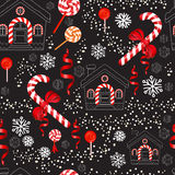 Christmas Candy Cane with red bow, lollipop, house and snowflake. Vector seamless pattern of Christmas Candy Cane with red bow, lollipop, ribbon, house and Royalty Free Stock Images