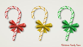 Christmas Candy Cane with Red Bow  on Royalty Free Stock Photo