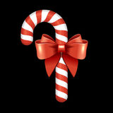 Christmas Candy Cane with Red Ribbon. Vector Royalty Free Stock Photography