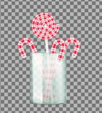 Christmas candy cane and lollipop royalty free illustration