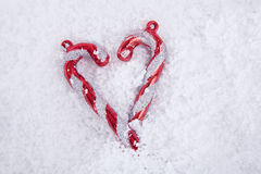Christmas Candy Cane with White Snow Royalty Free Stock Images