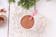 Christmas candy canes in cup of hot chocolate Stock Photos