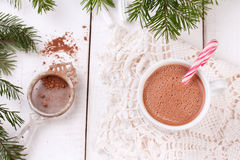 Christmas candy canes in cup of hot chocolate Royalty Free Stock Photos