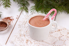 Christmas candy canes in cup of hot chocolate Royalty Free Stock Image