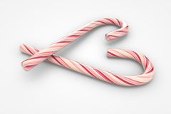 Christmas candy canes heart symbol. (3d illustration Royalty Free Stock Photo